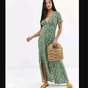 ASOS Maxi Ditzy Floral Double Split Tea Dress